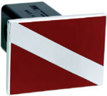 Defenderworx Divers Flag - Red & Polished - Square - 1-1/4 Inch Billet Hitch Cover