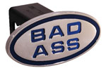 Defenderworx Bad Ass - Blue - Oval - 2 Inch Billet Hitch Cover