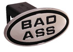 Defenderworx Bad Ass - Black - Oval - 2 Inch Billet Hitch Cover