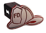 Defenderworx Firemans Hat - Red - Cutout Hat - 1-1/4 Inch Billet Hitch Cover