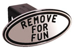 Defenderworx Remove for Fun - Black - Oval - 2 Inch Billet Hitch Cover