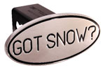 Defenderworx Got Snow - Black - Oval - 2 Inch Billet Hitch Cover