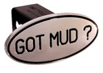 Defenderworx Got Mud - Black - Oval - 2 Inch Billet Hitch Cover