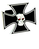 Defenderworx Iron Cross - Black w/ Chromed Skull - 2 Inch Billet Hitch Cover