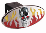 Defenderworx Flames w/ Chromed Skull - Red & Yellow - Oval - 2 Inch Billet Hitch Cover
