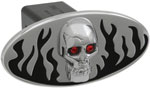 Defenderworx Flames w/ Chromed Skull - Black - Oval - 1-1/4 Inch Billet Hitch Cover