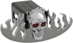 Defenderworx Flames Cutout w/ Chromed Skull - Polished - Oval - 1-1/4 Inch Billet Hitch Cover