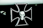 Defenderworx Iron Cross - Black w/ Chromed Skull - LED Lights - 2 Inch Billet Hitch Cover