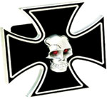 Defenderworx Iron Cross - Black w/ Chromed Skull - LED Lights - 1-1/4 Inch Billet Hitch Cover