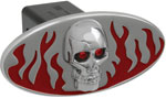 Defenderworx Flames w/ Chromed Skull - Red - Oval - LED Lights - 1-1/4 Inch Billet Hitch Cover