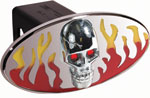 Defenderworx Flames w/ Chromed Skull - Red & Yellow - Oval - LED Lights - 1-1/4 Inch Billet Hitch Cover