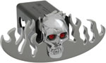 Defenderworx Flames Cutout w/ Chromed Skull - Polished - Oval - LED Lights - 1-1/4 Inch Billet Hitch Cover