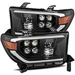 AlphaRex Toyota Sequoia NOVA LED Proj Headlights Plank Style Alpha Black w/Activation Light; 2008-2013