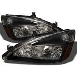 xTune Honda Accord Amber Crystal Headlights - Black; 2003-2007