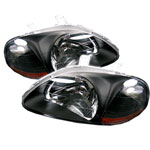 xTune Honda Civic Amber Crystal Headlights - Black; 1996-1998