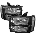 Gmc Sierra Crystal Housing Headlights Black; 2007-2013