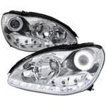 Spec-D Tuning Mercedes Benz W220 S-Class Projector Headlights - Chrome; 2000-2006