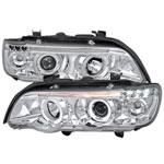 Spec-D Tuning Bmw E53 X5 Halo Led Projector Headlight Chrome Housing; 2001-2003