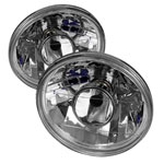 Spyder Inch Round 7 Projector Lamp W/ Super White H4 Bulbs - Chrome