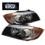 xTune BMW E90 3-Series 4Dr CCFL Halo Projector Headlights - Black; 2006-2008
