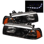 Spyder BMW E36 3-Series 4Dr 1PC DRL LED Projector Headlights - Black - (PRO-YD-BMWE36-4D-DRL-BK); 1992-1998