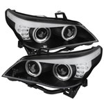 Spyder BMW E60 5-Series ( D2S HID ) Projector Headlights For Factory Xenon - CCFL Halo - Black - (PRO-YD-BMWE6004-D2S-CCFL-BK); 2004-2007