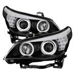 Spyder BMW E60 5-Series ( D1S HID ) Projector Headlights For Factory Xenon - CCFL - Black - (PRO-YD-BMWE6004-HID-CCFL-BK); 2004-2007