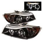 Spyder BMW E90 3-Series 4Dr Halo Amber Eyebrow ( Replaceable Eyebrow Bulbs ) Projector Headlights - Black - (PRO-YD-BMWE9005-AM-BK); 2006-2008