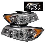 Spyder BMW E90 3-Series 4Dr Halo Amber Eyebrow ( Replaceable Eyebrow Bulbs ) Projector Headlights - Chrome - (PRO-YD-BMWE9005-AM-C); 2006-2008