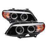 Spyder BMW X5 E53 Dual Projector Headlights - Halogen Model Only - DRL LED - CCFL Halo - Black - (PRO-YD-BMWX503-CCFL-BK); 2004-2006
