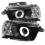 Spyder Chevrolet Camaro Dual CCFL Halo Projector Headlights - Black - (PRO-YD-CCAM2010-CCFL-BK); 2010-2013