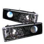 Spyder C-10 C/k Series Halo Projector Headlights - Black - (PRO-YD-CCK88-BK); 1988-1999