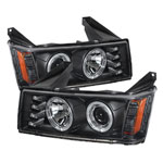 Spyder GMC Canyon Projector Headlights - Halogen Model Only- LED Halo - Black - (PRO-YD-CCO04-HL-BK); 2004-2012