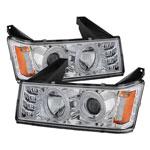 Spyder GMC Canyon Projector Headlights - Halogen Model Only- LED Halo - Chrome - (PRO-YD-CCO04-HL-C); 2004-2012