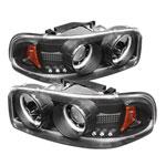 Spyder GMC Sierra 1500/2500/3500 CCFL LED ( Replaceable LEDs ) Projector Headlights - Black - (PRO-YD-CDE00-CCFL-BK); 1999-2006