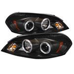 Spyder Chevrolet Impala Halo LED ( Replaceable LEDs ) Projector Headlights - Black - (PRO-YD-CHIP06-HL-BK); 2006-2013