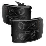 Spyder Chevy Silverado 1500 Projector Headlights - LED Halo - LED Black Smoke - (PRO-YD-CS07-HL-BSM); 2007-2013