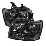 Spyder Chevrolet Tahoe CCFL LED ( Replaceable LEDs ) Projector Headlights - Smoke - (PRO-YD-CSUB07-CCFL-SM); 2007-2012