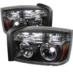 Spyder Dodge Dakota Halo LED Projector Headlights - Black - (PRO-YD-DDAK05-BK); 2005-2007