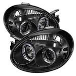 Spyder Dodge Neon Halo LED ( Replaceable LEDs ) Projector Headlights - Black - (PRO-YD-DN03-HL-BK); 2003-2005