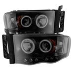 Spyder Dodge Ram 1500 / Ram 1500 2500/3500 Projector Headlights - CCFL Halo - LED Black Smoke - (PRO-YD-DR02-CCFL-BSM); 2002-2005