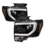 Spyder Ford F150 Projector Headlights - Factory Xenon Model Only - Light Bar DRL - Black - (PRO-YD-FF15013-LBDRL-HID-BK); 2013-2014