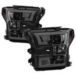 Spyder Ford F150 Projector Headlights - Light Bar DRL LED - Smoke - (PRO-YD-FF15015-LBDRL-SM); 2015-2017