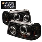 Spyder Ford Ranger 1PC Halo LED ( Replaceable LEDs ) Projector Headlights - Black - (PRO-YD-FR01-1PC-HL-BK); 2001-2011