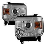 Spyder GMC Sierra 1500 Projector Headlights - Light Bar DRL - Chrome - (PRO-YD-GS14V2-LBDRL-C); 2014-2015