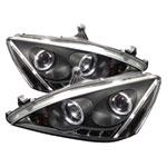 Spyder Honda Accord Halo LED ( Replaceable LEDs ) Projector Headlights - Black - (PRO-YD-HA03-AM-BK); 2003-2007