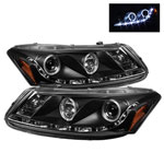 Spyder Honda Accord 4Dr DRL LED Halo Projector Headlights - Black - (PRO-YD-HA08-4D-HL-BK); 2008-2012