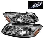 Spyder Honda Accord 4Dr DRL LED Halo Projector Headlights - Chrome - (PRO-YD-HA08-4D-HL-C); 2008-2012