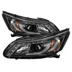 Spyder Honda Accord 4DR Projector Headlights - Light Bar DRL - Black - (PRO-YD-HA13-LBDRL-BK); 2013-2015
