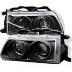 Spyder Honda CRX Halo Projector Headlights - Black - (PRO-YD-HC88-HL-BK); 1988-1989